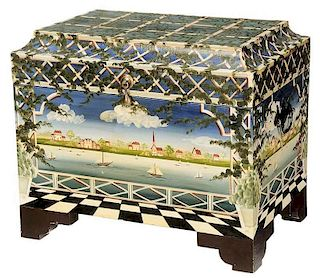 Folk Art Paint Decorated Lift Top Box