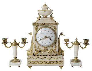 Louis XVI Style Marble Clock with Garniture