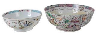 Two Chinese Export Punch Bowls