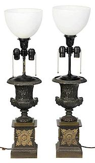 Pair of Regency Style Bronze Urn Form Lamps