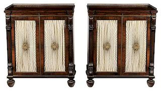 Pair Regency Style Rosewood Grill-Door Cabinets