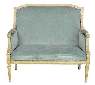 Louis XVI Style Carved and Painted Settee