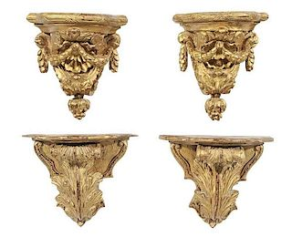 Two Pairs of Gilt Wall Brackets