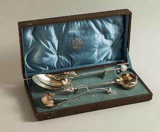 Three George B. Sharp Silver Serving Pieces