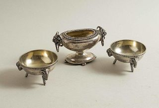 Three Figural Sterling Silver Salt Cellars, George Sharp