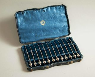George Sharp Cased Silver Nut Picks, retailed Tiffany & Co