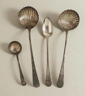 Four Sterling Silver Serving Pieces, Hester Bateman