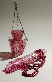 Two Hanging Glass Vases