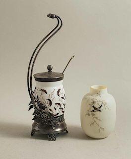 James Tufts Milk Glass Pickle Castor and Vase