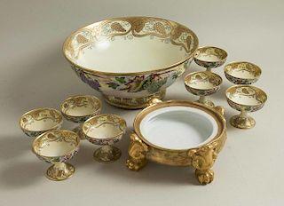 10 Piece Haviland Porcelain Punch Bowl Set