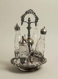 Glass Cruet Set with Bell