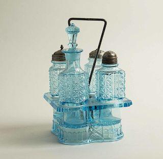 American Pressed Glass Cruet Set