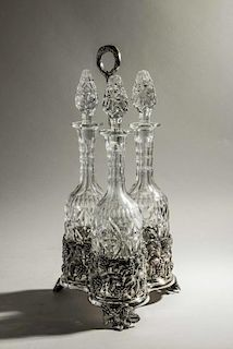 Decorative Stand with Decanters