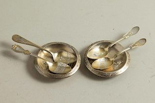 Two Sterling Butter Pats & Spoons, Aesthetic Movement, Schulz & Fischer