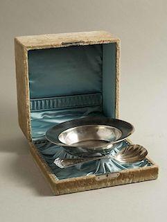 Cased Silver Bowl & Spoon, Schulz & Fischer