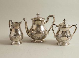 Three Piece Schulz & Fischer Coin Silver Tea Service