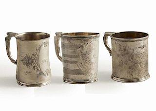 Three California Silver Mugs