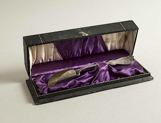 Cased Coin Silver Cheese Scoop