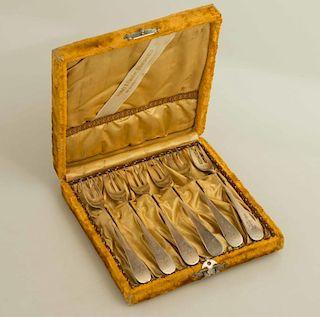 Six Cased Sterling Silver Forks