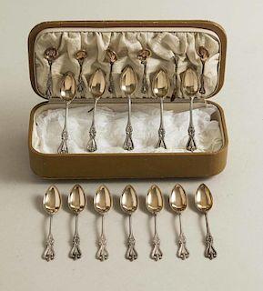 Gilt Sterling Demitasse & Salt Spoons, Old Colonial