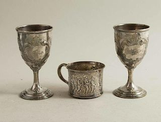 Silver Mug and Two Goblets