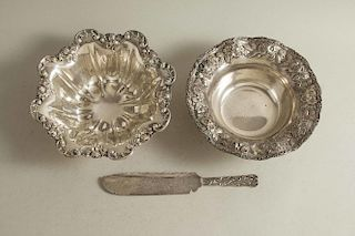 Two Sterling Bowls & Cake Knife