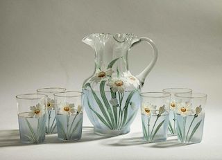 Daisy Painted Glass Lemonade Set