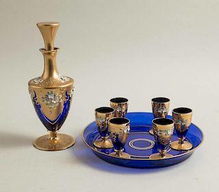 Italian Enameled Glass Decanter Set