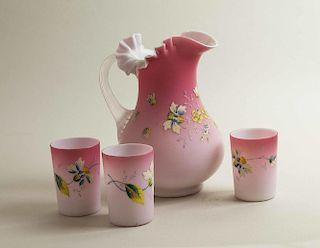 Pink Satin Art Glass Pitcher & Glasses