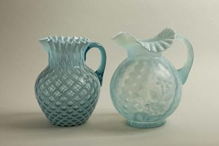 Two Blue Glass Pitchers