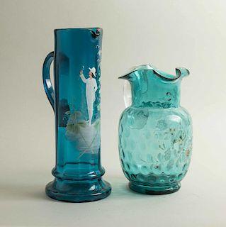 Two Enamel Art Glass Pitchers
