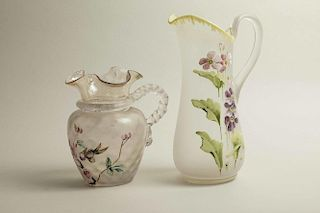 Two Glass Pitchers with Painted Decoration