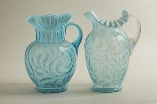 Two Blue Art Glass Pitchers