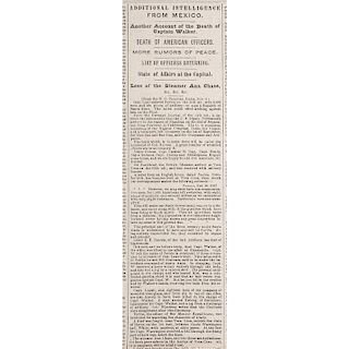First Published News of the Death of Captain Samuel Hamilton Walker, New York Herald, November 1847