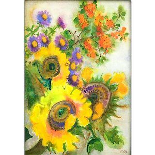 Emil Nolde, German (1867-1956) Watercolor on Paper, Flowers.