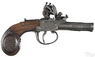 European flintlock double screw barrel pistol