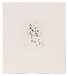 Frank Auerbach, (British, b. 1931), Joe Tilson (from Six Etchings of Heads), 1980