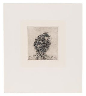 Frank Auerbach, (British, b. 1931), Lucian Freud (from Six Etchings of Heads), 1980
