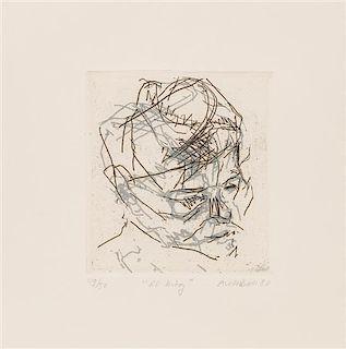 Frank Auerbach, (British, b. 1931), R.B. Kitaj (from Six Etchings of Heads), 1980