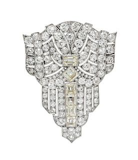 An Art Deco Platinum and Diamond Pendant/Brooch, 6.70 dwts.