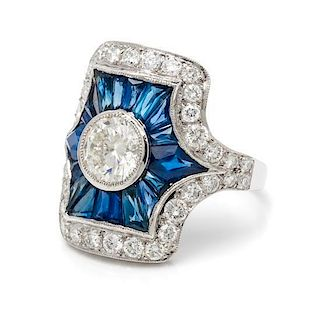 A Platinum, Diamond and Sapphire Ring, 7.00 dwts.