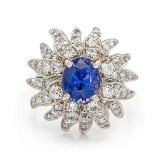A 14 Karat White Gold, Sapphire and Diamond Ring, 4.90 dwts.