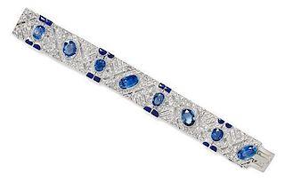 A Platinum, White Gold, Sapphire, Diamond and Enamel Bracelet, 33.50 dwts.
