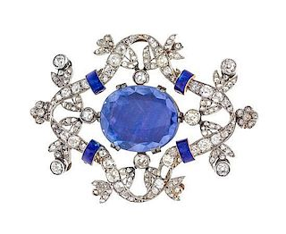 * A Platinum Topped Gold, Sapphire, Diamond and Enamel Pendant/Brooch,
