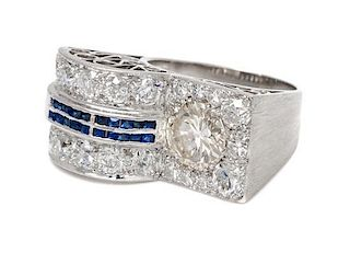 A Platinum, Diamond and Sapphire Ring, 7.40 dwts.