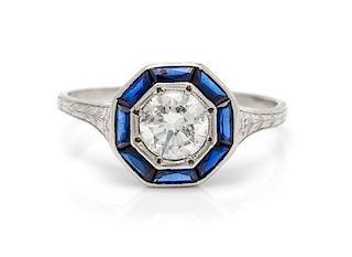 A Platinum, Diamond and Sapphire Ring, 1.60 dwts.