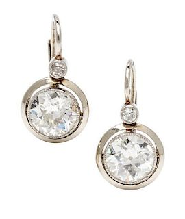 A Pair of White Gold and Diamond Earrings, 2.40 dwts.