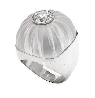 A Platinum, Diamond and Rock Crystal Ring, 17.60 dwts.
