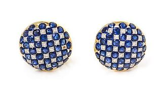 A Pair of 18 Karat Bicolor Gold, Sapphire and Diamond Earclips, 12.90 dwts.