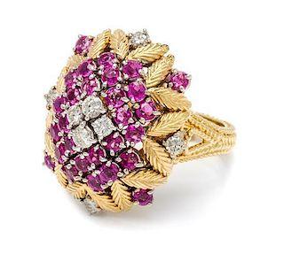 An 18 Karat Yellow Gold, Ruby and Diamond Ring, 8.90 dwts.